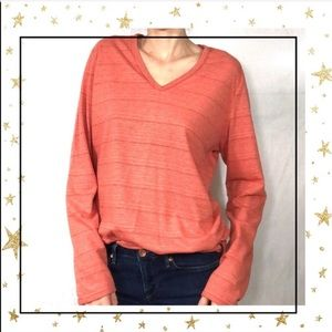 Columbia Orange v-neck long sleeve women tee (D8)